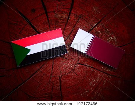 Sudan Flag With Qatari Flag On A Tree Stump Isolated