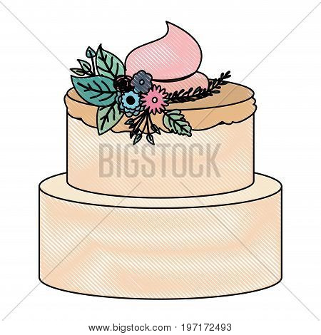crayon silhouette of hand drawing color two-story cake with pink buttercream and ornament plants decorative vector illustration