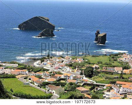Sea stacks and rocks off Mosteiros near Ponta Delgada, Sao Miguel, The Azores