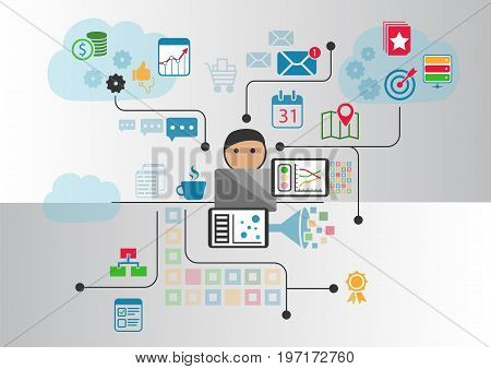 Cloud computing concept as vector illustration. Cartoon person connected to the cloud via notebook and other smart devices