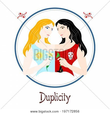 Illustration with a woman on the theme of duplicity.
