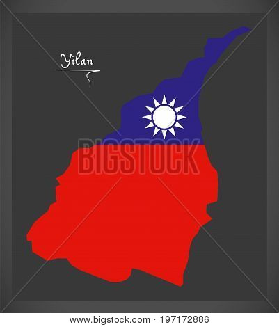 Yilan Taiwan Map With Taiwanese National Flag Illustration
