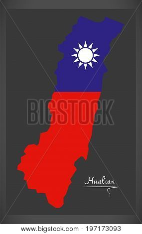 Hualian Taiwan Map With Taiwanese National Flag Illustration