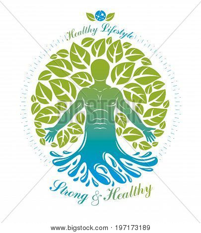 Vector graphic muscular human deriving from water wave and composed with green eco tree self. Homeopathy creative illustration.