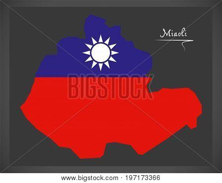 Miaoli Taiwan Map With Taiwanese National Flag Illustration