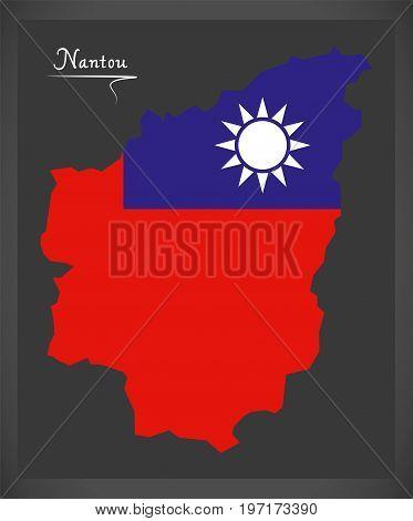 Nantou Taiwan Map With Taiwanese National Flag Illustration