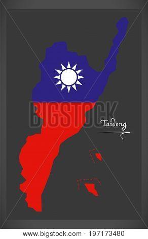 Taidong Taiwan Map With Taiwanese National Flag Illustration