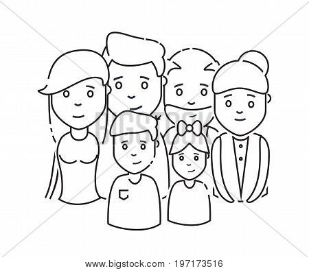 icon family daddy mama doughtier son granddad grandmother line. Vector illustration