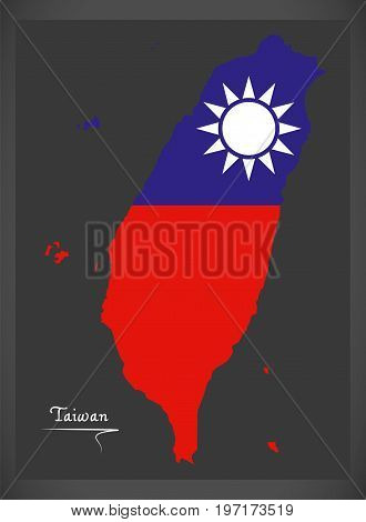 Taiwan Map With Taiwanese National Flag Illustration