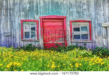 Red painted old vintage shed with yellow dandelion flowers in summer landscape field in countryside poster