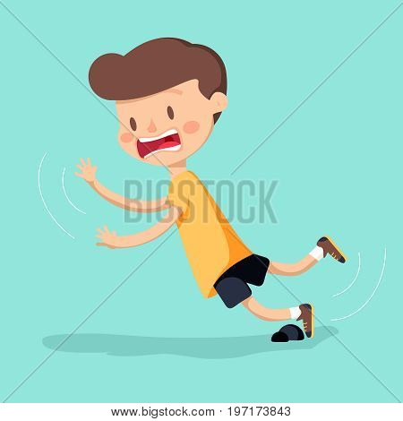 Boy was stumbling on rock while walking. Vector illustration