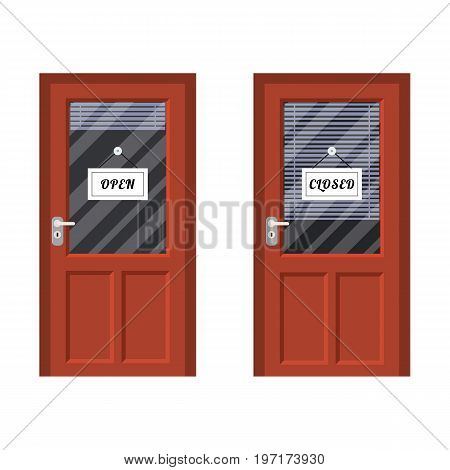 Door marked open and closed. Vector illustration in flat style
