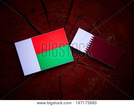 Madagascar Flag With Qatari Flag On A Tree Stump Isolated