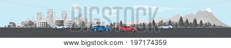 Urban Landscape Panorama Street Road With Cars And City Nature Background