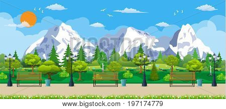 Mountain park concept, wooden bench, street lamp, waste bin in square. Rocky mountains and trees. Leisure time in summer park. Vector illustration in flat style