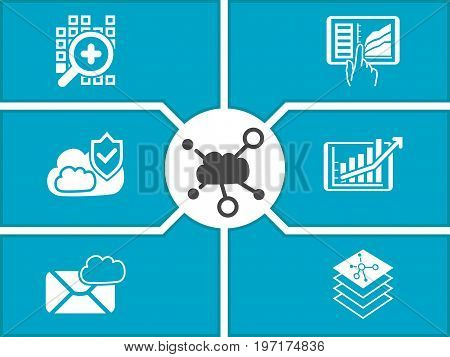 Concept of cloud computing dashboard for mobile devices. Vector illustration