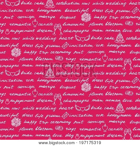 Lettering hand drawn seamless pattern on pink background. Words and drawings on the theme of wedding.
