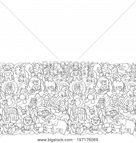 Animal outline toys on abstract wave background seamless border. Fun wallpaper for coloring books, textile prints, greeting cards with text place.