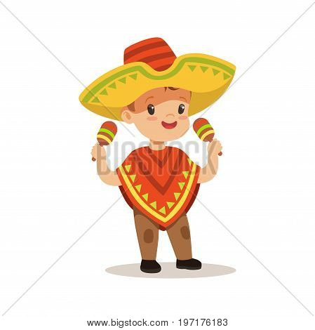 Cute boy wearing poncho and sombrero, national costume of Mexico colorful character vector Illustration on a white background