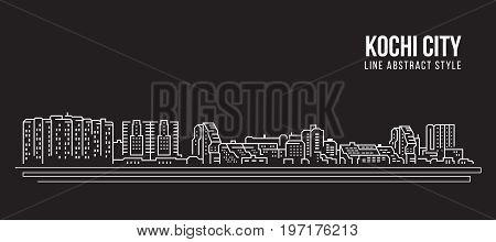 Cityscape Building Line art Vector Illustration design - Kochi city