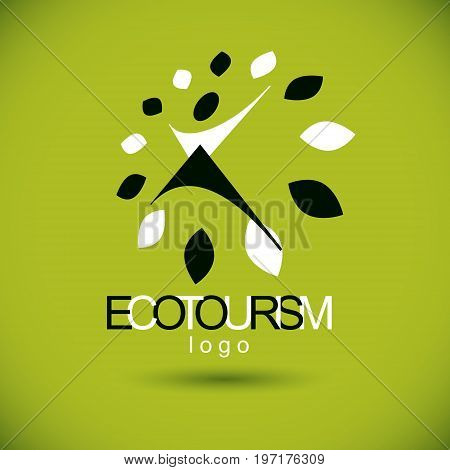Vector illustration of excited abstract person with raised hands up. Ecotourism conceptual logo. Wellness and harmony symbolic symbol.