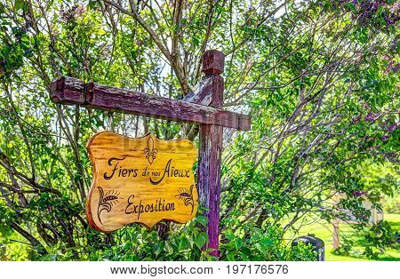 Ile D'Orleans Canada - June 1 2017: Sign on road stating