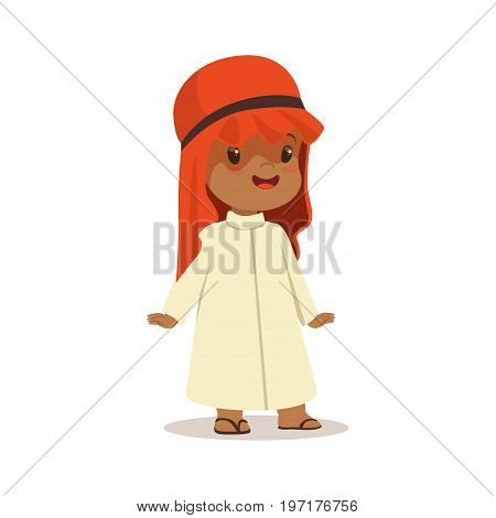 Boy wearing in white dress and red muslim headdress, national costume of Saudi Arabia colorful character vector Illustration on a white background