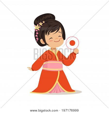 Cute girl wearing red kimono, national costume of Japan colorful character vector Illustration on a white background