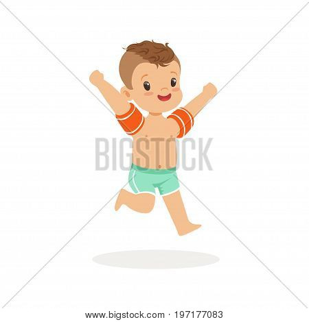 Cute happy boy running with inflatable armbands, kids summer vacation colorful character vector Illustration on a white background