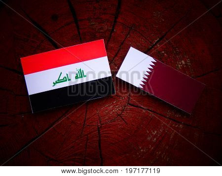 Iraqi Flag With Qatari Flag On A Tree Stump Isolated