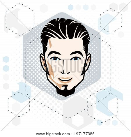 Vector illustration of handsome brunet male face with beard positive face features clipart.