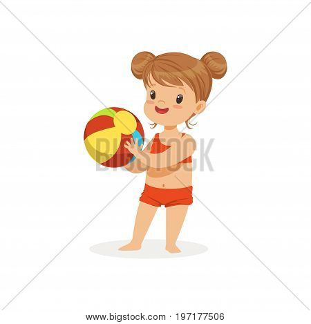 Little girl wearing red swimsuit playing with a ball, kids summer vacation colorful character vector Illustration on a white background