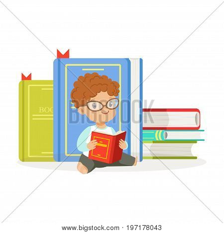 Cute redhead boy reading a book next to a pile of books, kid enjoying reading, colorful character vector Illustration on a white background
