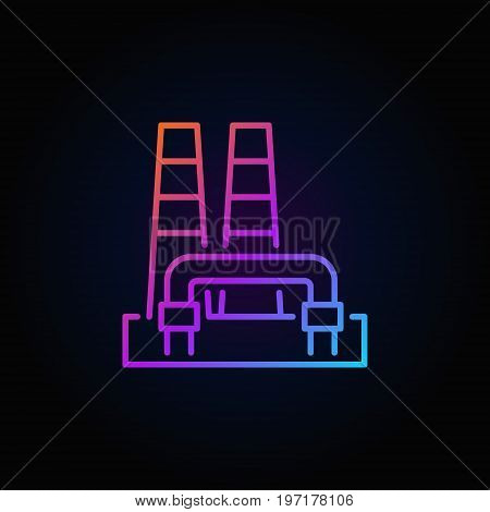 Colorful geothermal power plant icon - vector renewable energy concept sign on dark background
