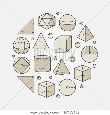 Colorful trigonometry and geometry illustration - vector round science or education concept symbol made with geometric shapes