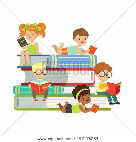 Cute boys and girls sitting on a pile of books and reading books, kids enjoying reading, colorful characters vector Illustration on a white background
