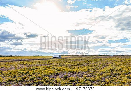 Landscape View Of Farm In Ile D'orleans, Quebec, Canada With Vintage Shed In Autumn