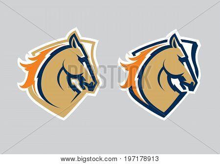 Mustang sport mascot. Horse head logotype. Label. Emblem