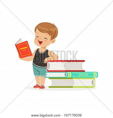 Cute little boy reading a book next to a pile of books, kid enjoying reading, colorful character vector Illustration on a white background