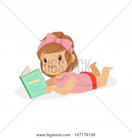Sweet little girl lying on her stomach and reading a book, kid enjoying reading, colorful character vector Illustration on a white background