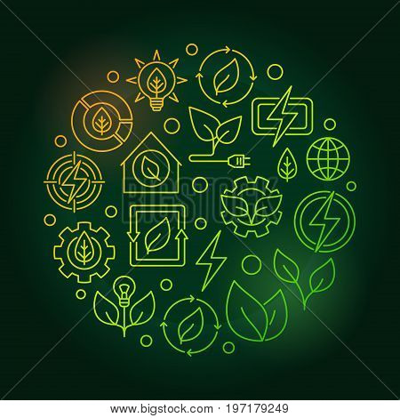 Bioenergy circular green illustration. Vector renewable energy concept colorful symbol made with thin line icons on dark background