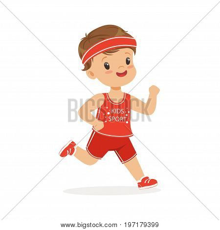 Boy in a red uniform running, marathon runner, boy running on school sport day colorful character vector Illustration on a white background