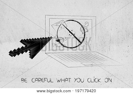 Laptop With Stopped Cyber Threats On Screen And Oversize Mouse Pointer