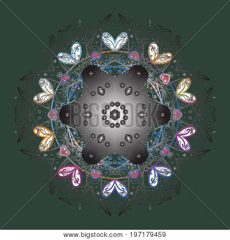 Falling Christmas stylized snowflakes. Illustration. Beautiful vector snowflakes isolated on a colorful background. Snowflakes snowfall.
