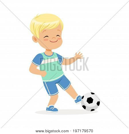 Boy playing soccer, kid kicking a ball colorful character vector Illustration on a white background