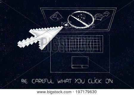 Laptop With Mouse Pointer Prevented From Clicking On Stopped Cyber Threats