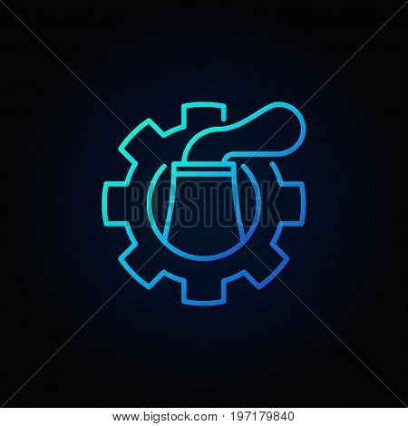 Nuclear plant in cog blue icon - vector thin line concept symbol or logo element on dark background