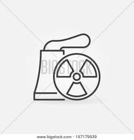 Nuclear power plant vector icon or design element in thin line style