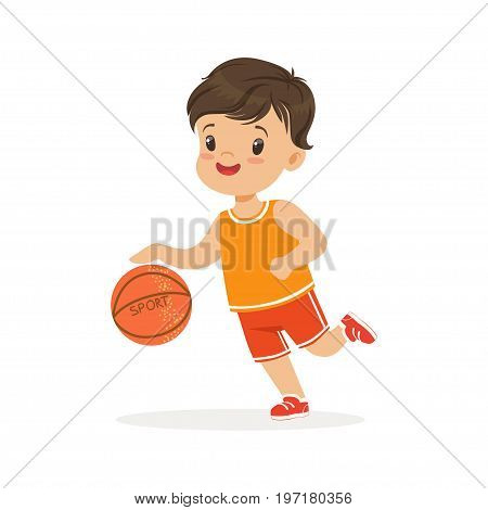 Boy playing basketball, player is moving dribble colorful character vector Illustration on a white background