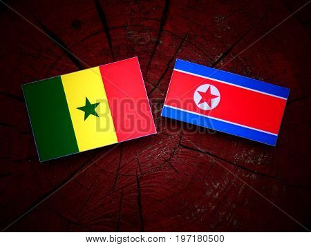 Senegal Flag With North Korean Flag On A Tree Stump Isolated